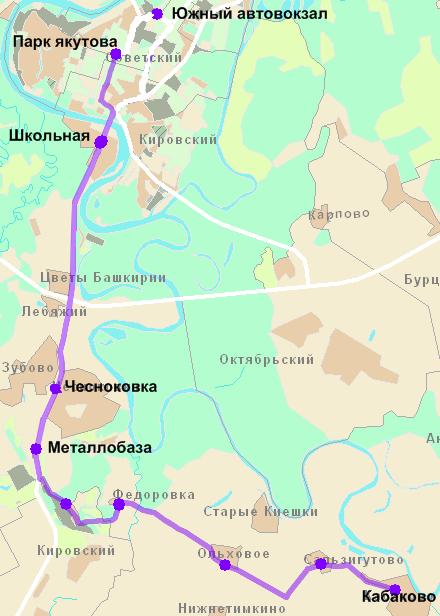 Схема движения маршрута 121к