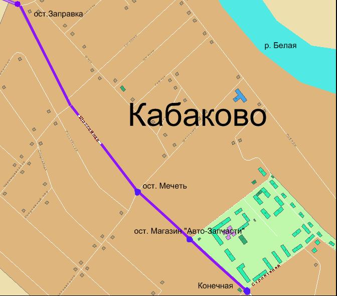 Схема движения маршрута 121к.